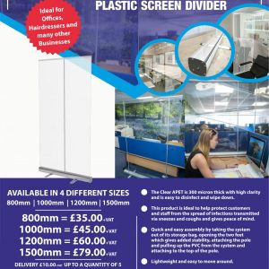 Covid-19 Sneeze Guard Plastic Screen Divider